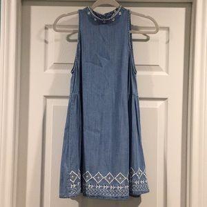 Embroidered Blue Denim High Neck Dress